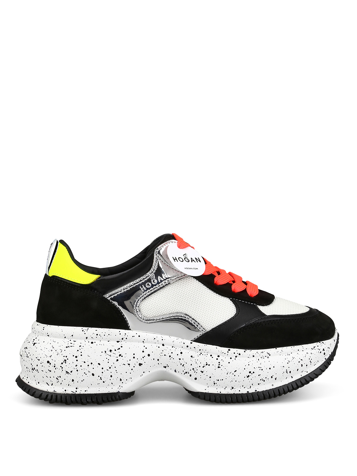 Hogan Maxi I Active Black Oversize Leather & Mesh Sneaker  <br> In Multicolour