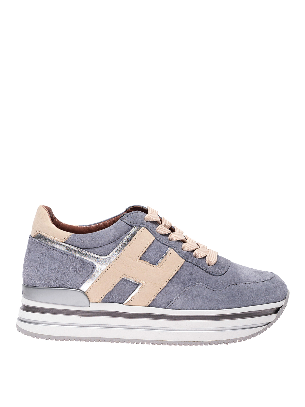 Hogan Midi Platform Nubuck Sneakers In Grey