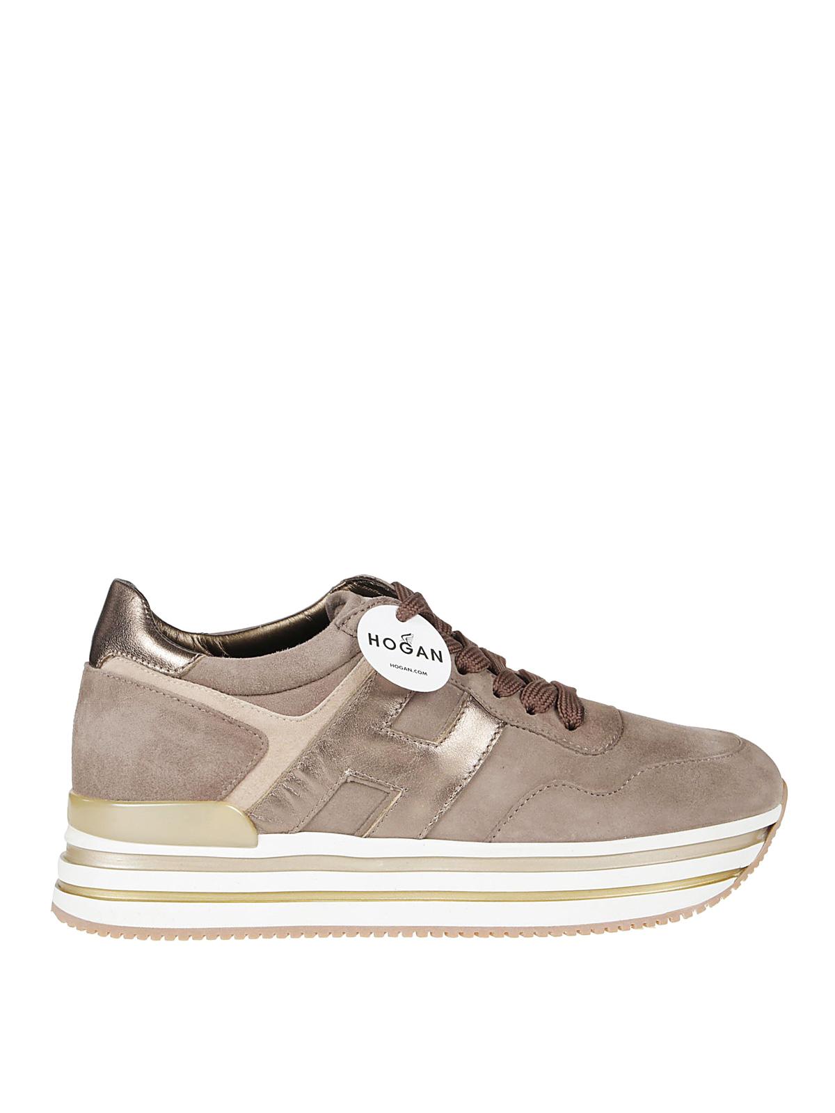 Hogan Midi Platform Suede Sneakers In Light Brown