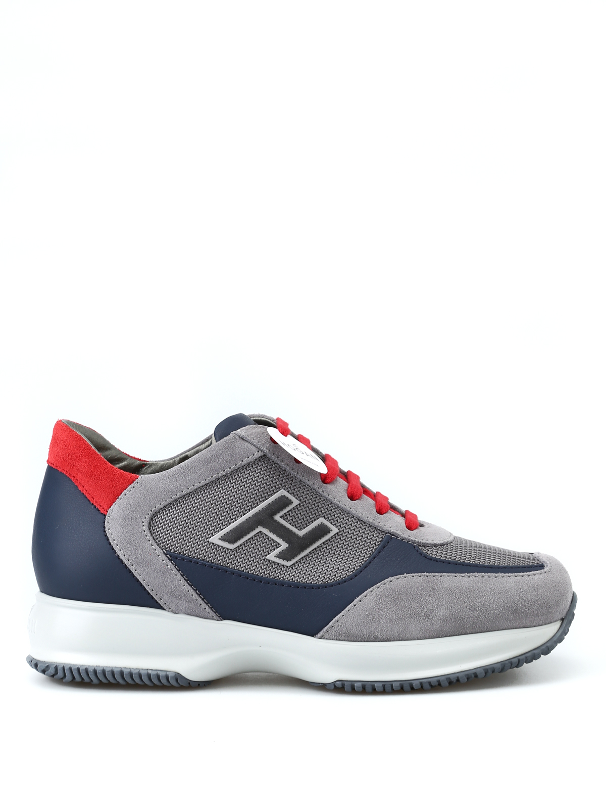 93659304aa13 Hogan - New Interactive H Flock grey and red sneakers - trainers ...