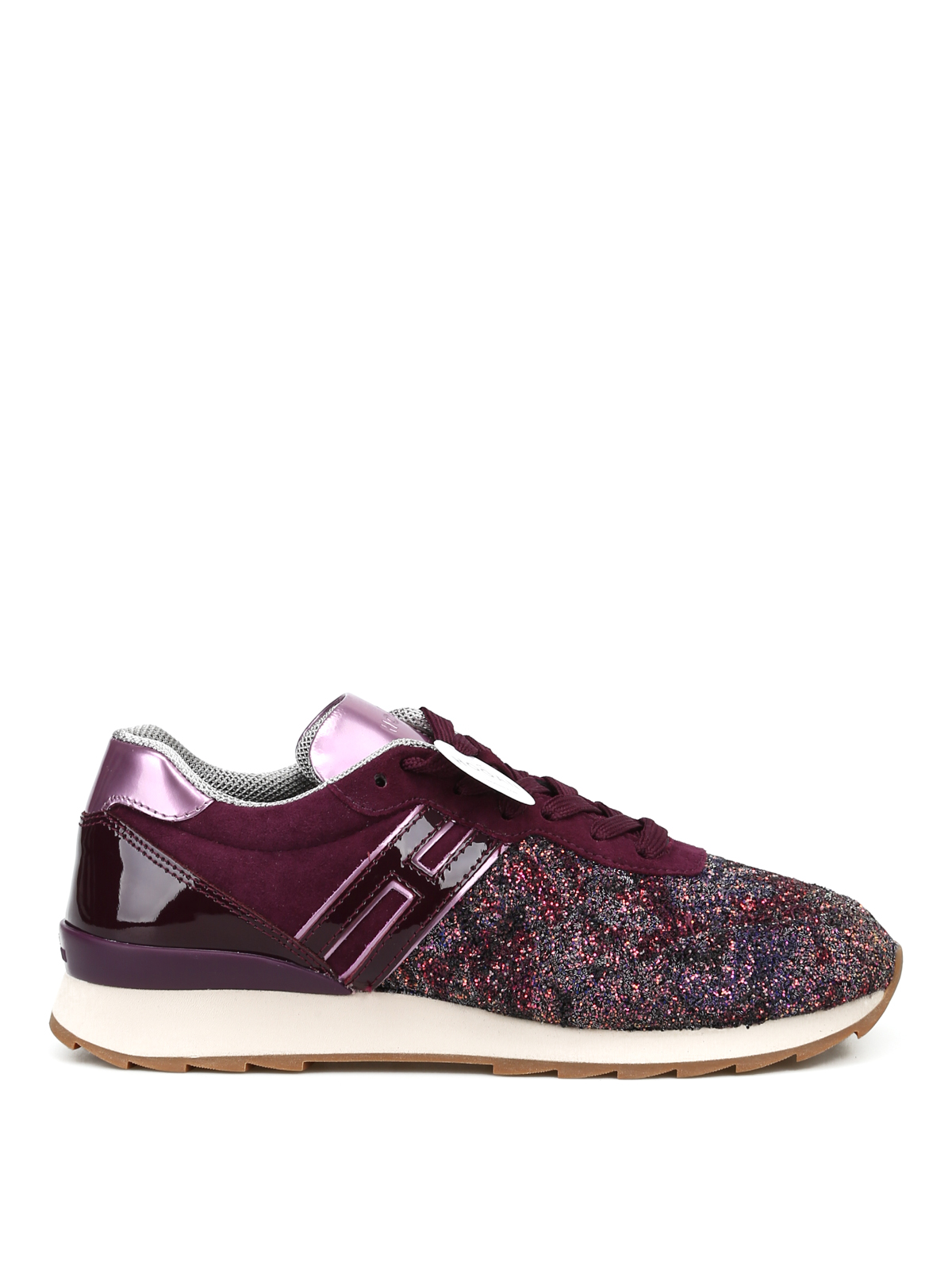 R261 purple suede and glitter sneakers