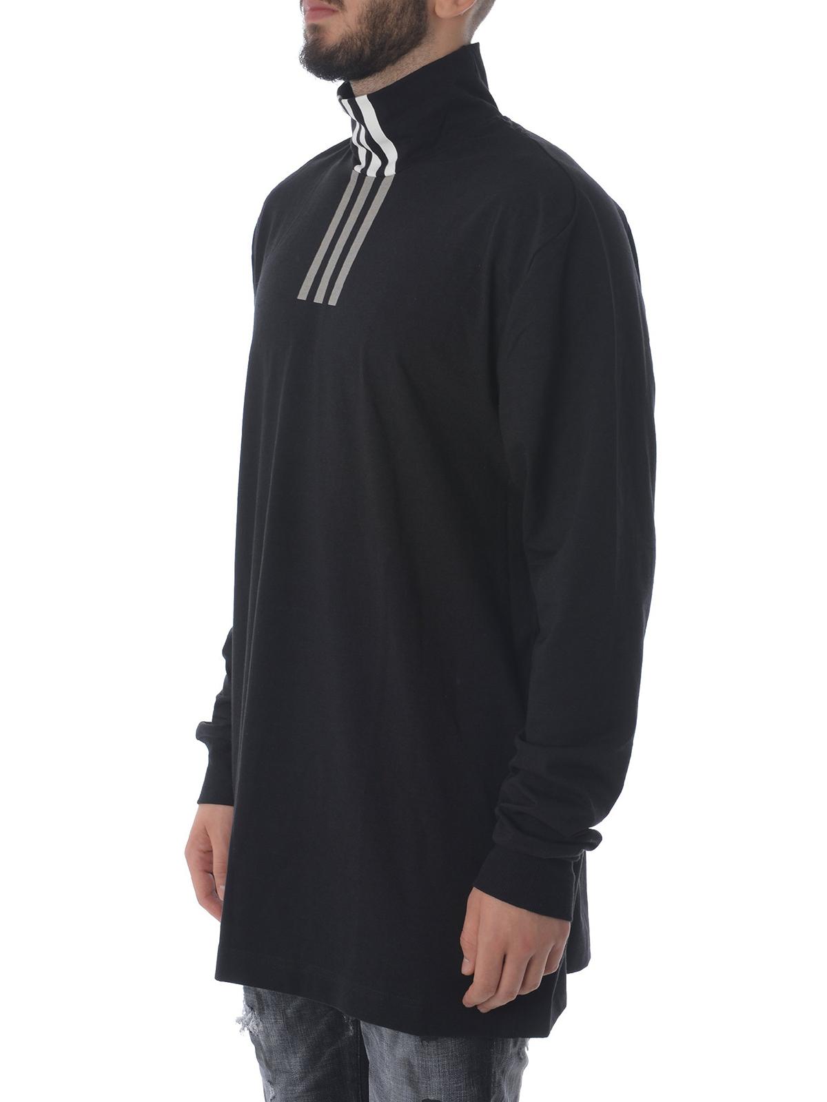 T-shirts Adidas Y-3 - Black jersey cotton long sleeve T-shirt ...