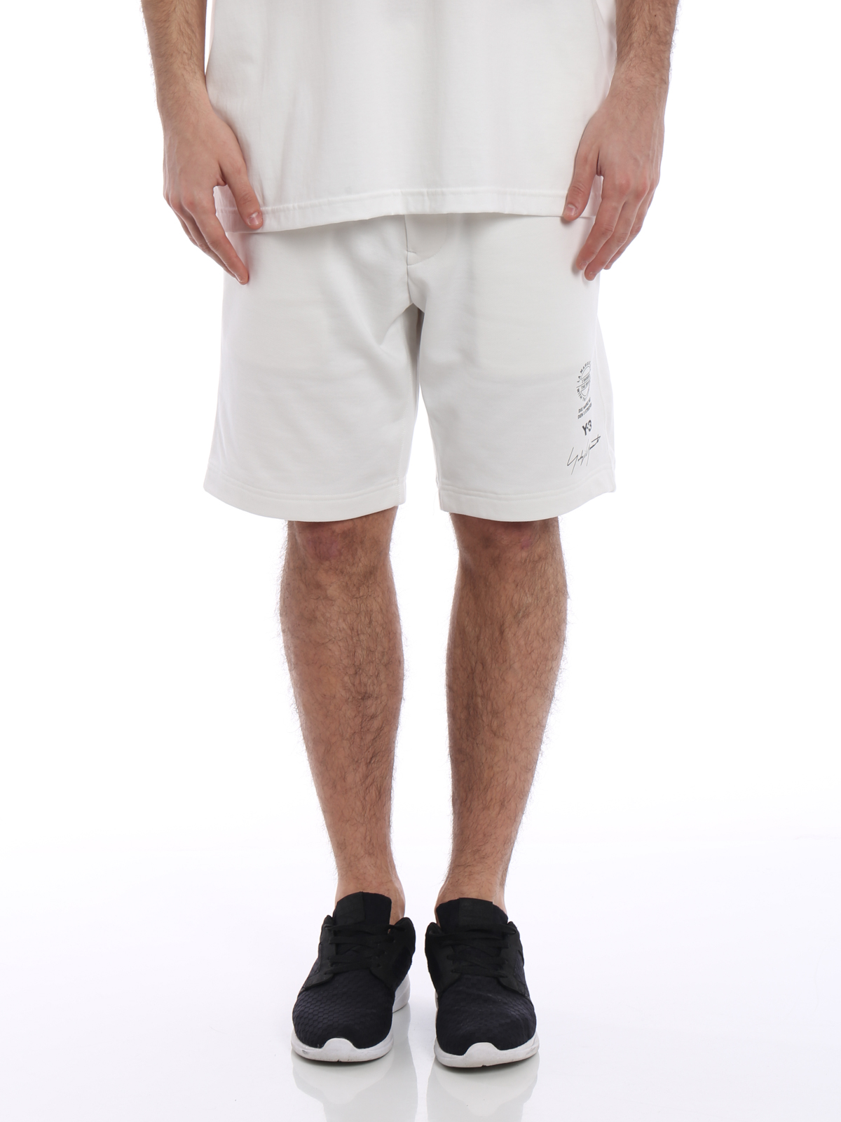Tracksuit bottoms Adidas Y-3 - Y-3 white cotton jersey shorts ...