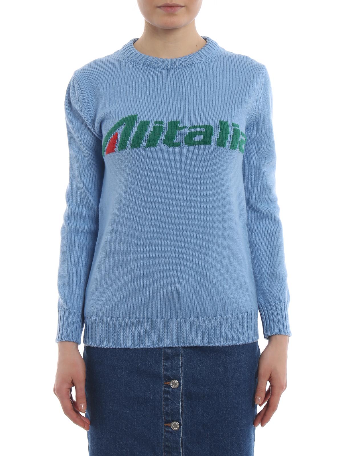 Alberta Ferretti Pullover azzurro con intarsio logo