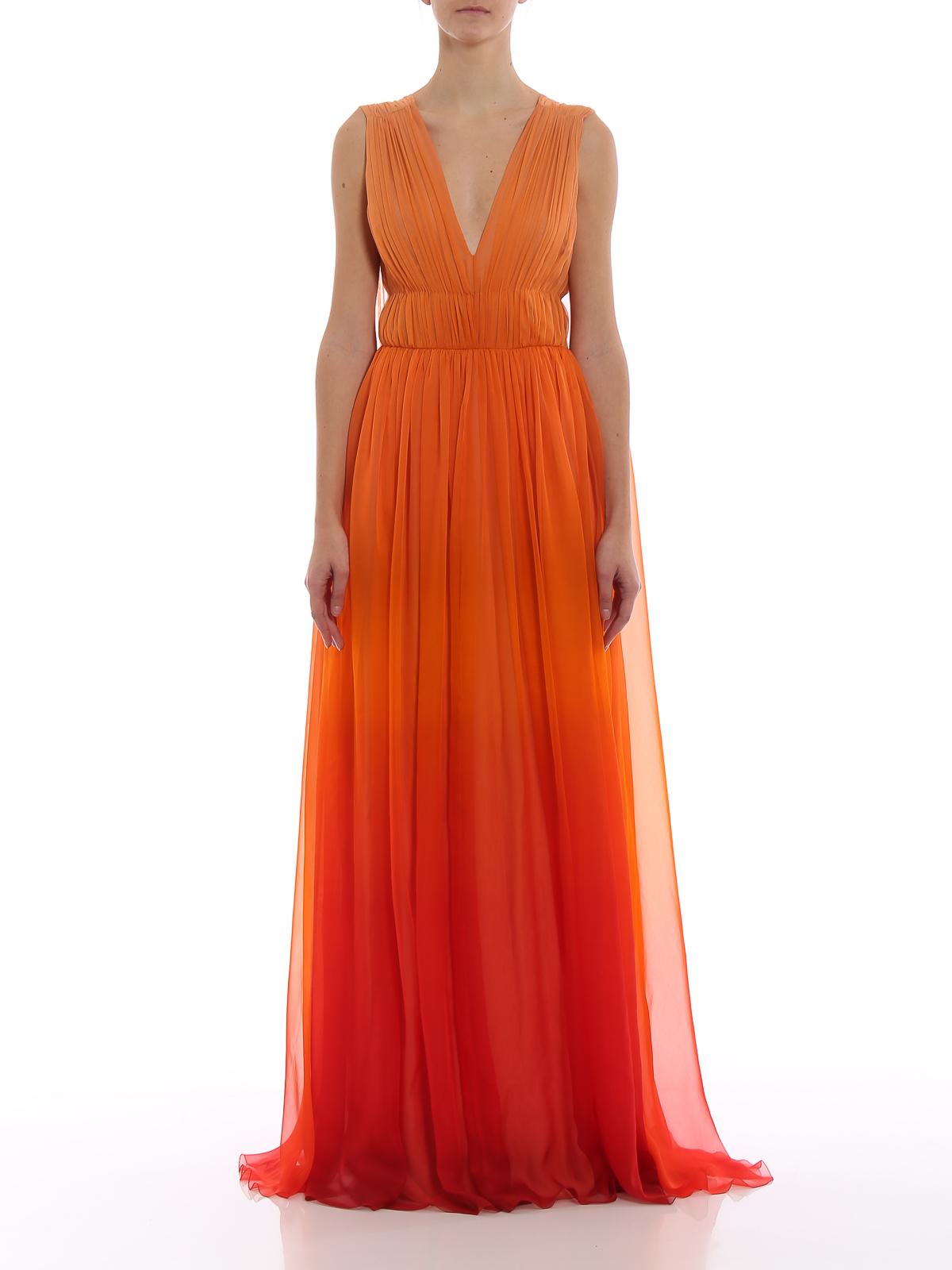 online retailer b591e da668 Alberta Ferretti - Abito arancione sfumato in seta - abiti ...