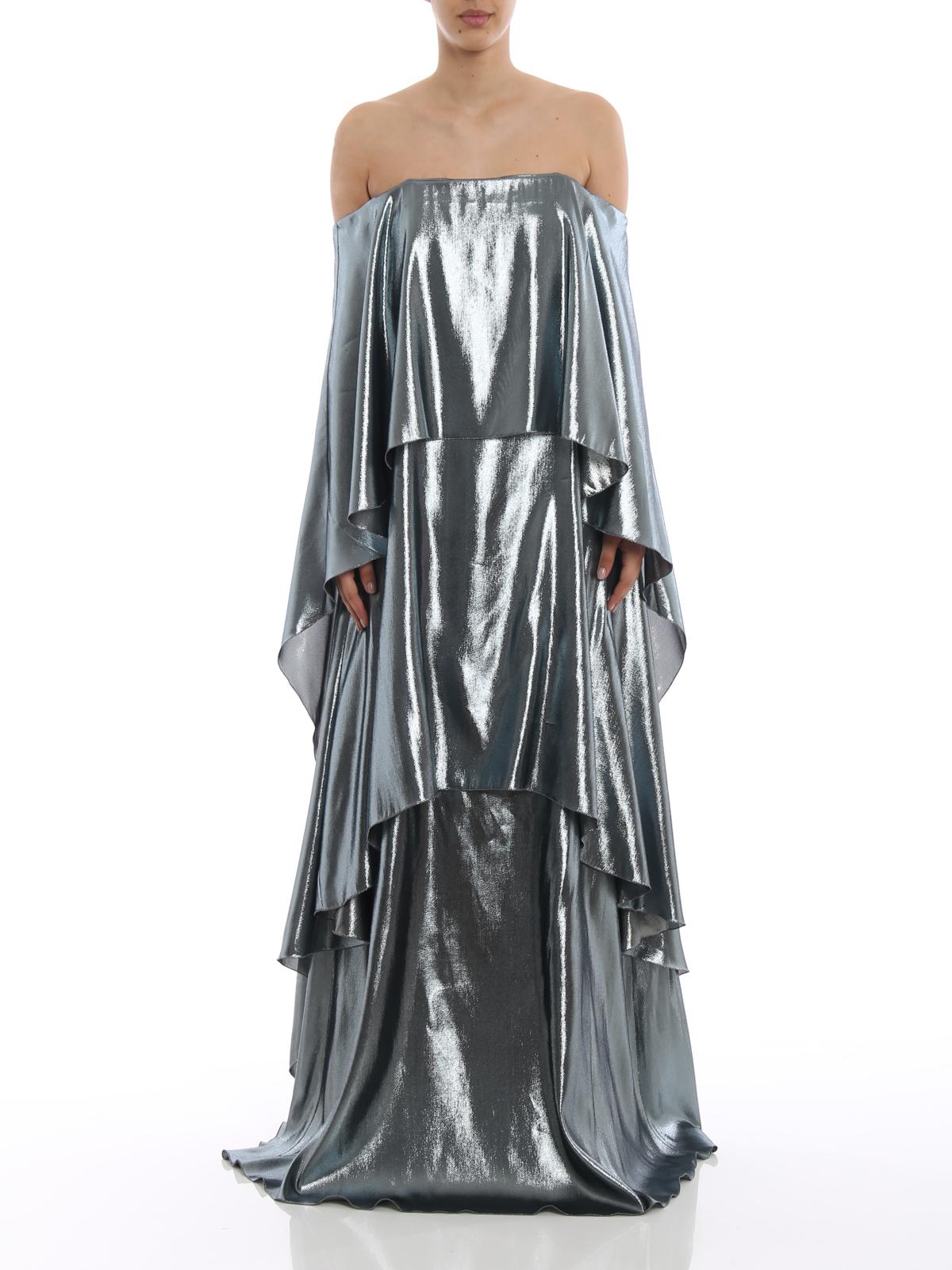 a82bd0b8d6733 iKRIX ALBERTA FERRETTI: maxi dresses - Lamé silk blend tiered maxi dress