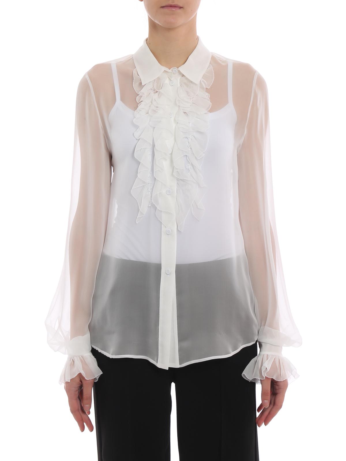 f1f7a201f3 iKRIX ALBERTA FERRETTI: camicie - Camicia bianca in seta con rouches