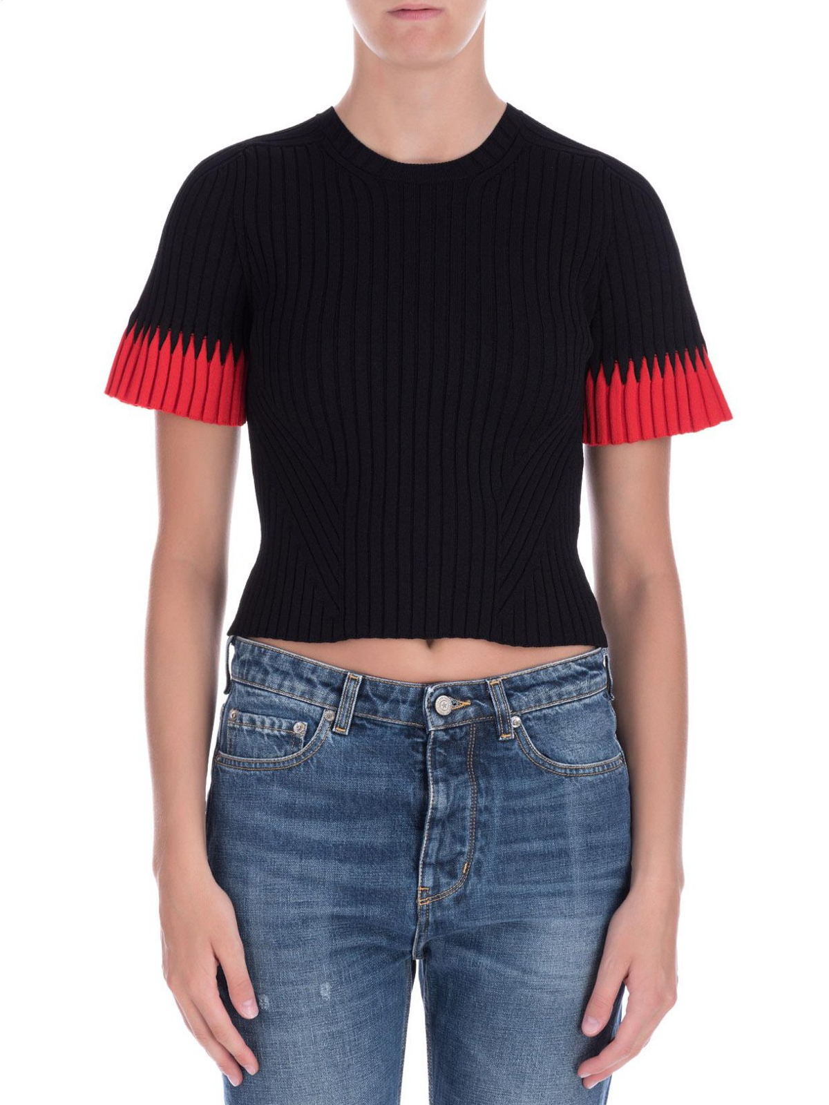 f1630db043ee Alexander Mcqueen - Ribbed viscose crop top with bell sleeves - crew ...
