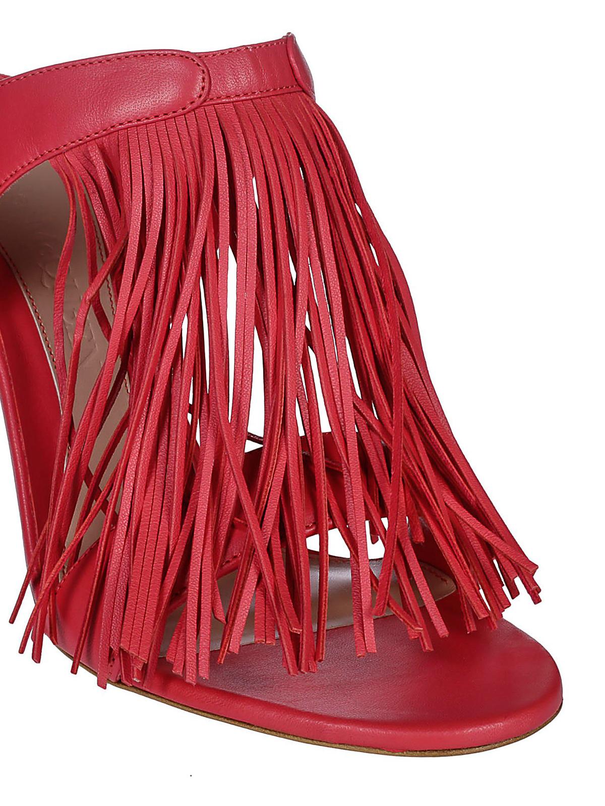 Alexander Mcqueen Stiletto heel fringed nappa sandals