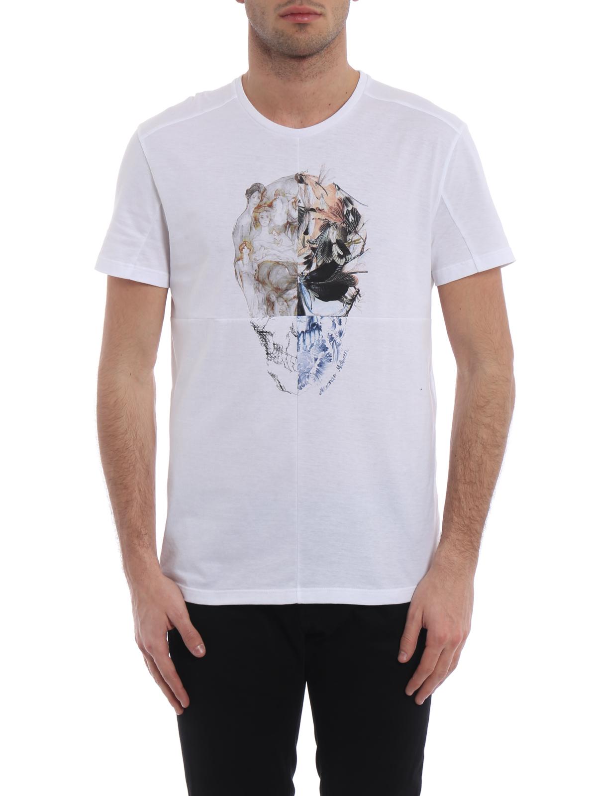 7445a9c16 iKRIX ALEXANDER MCQUEEN: t-shirts - Skull patchwork print white T-shirt