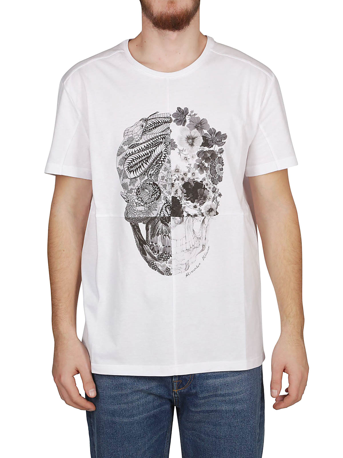e9b725622 iKRIX ALEXANDER MCQUEEN: t-shirts - Skull Patchwork white T-shirt
