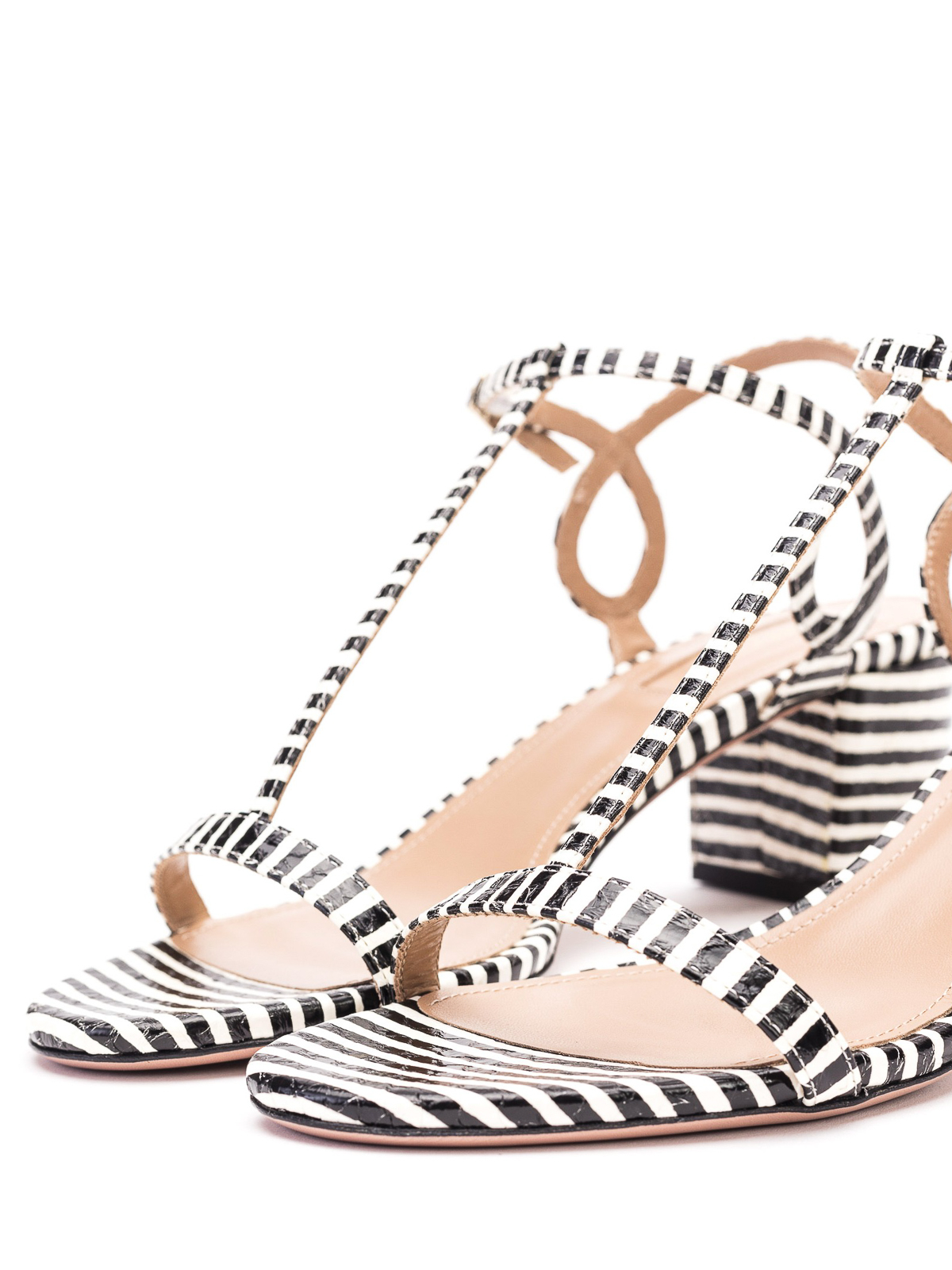 Black and white striped heeled sandals