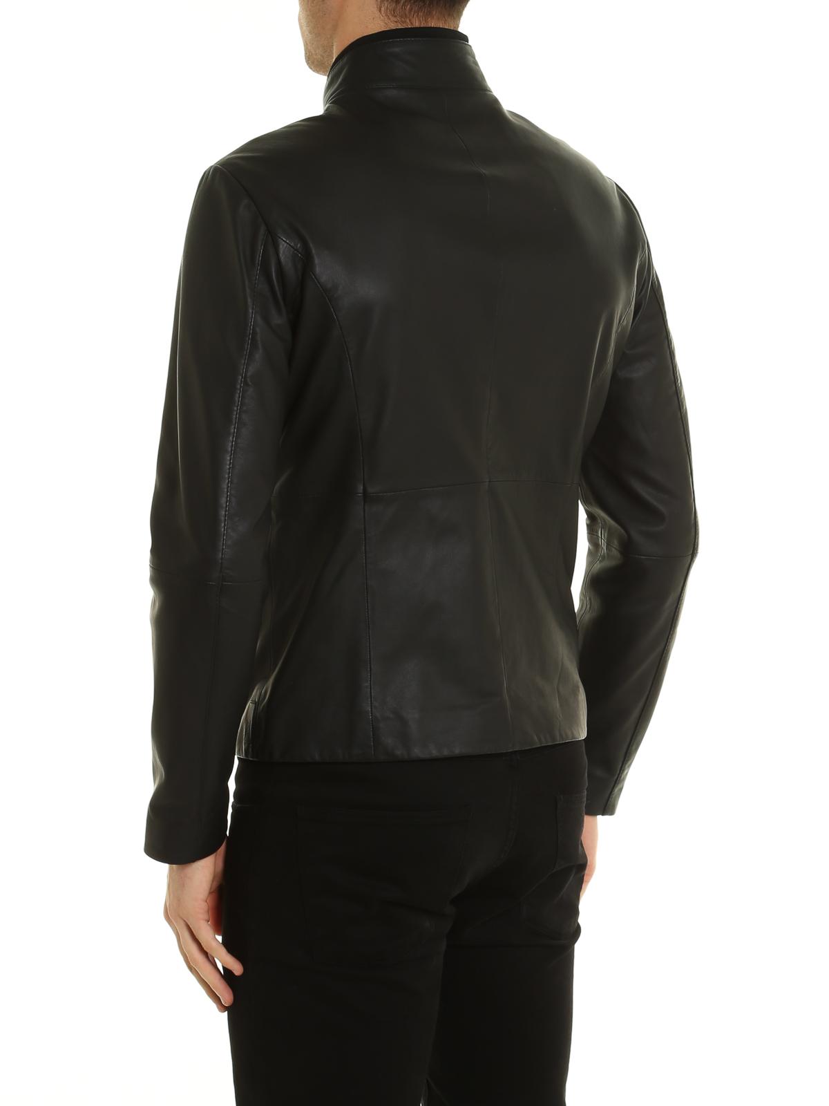 wholesale dealer a008b 09642 Armani Collezioni - レザーコート メンズ - 黒 - レザー ...