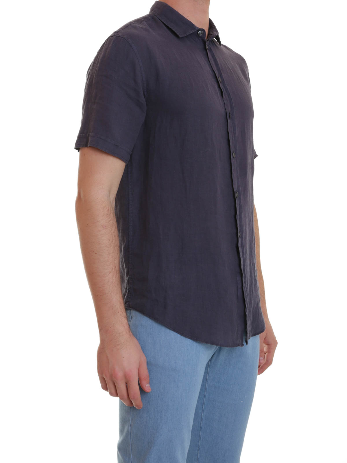 Short sleeved linen shirt by armani collezioni shirts for Short sleeve linen shirt