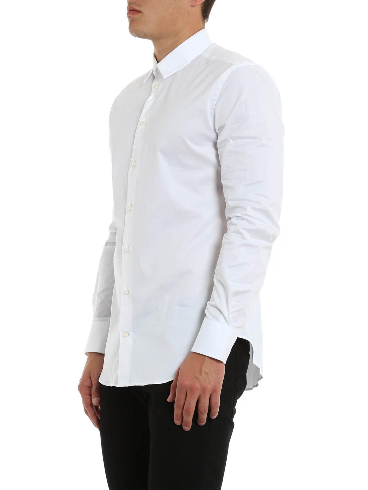 slim fit cotton blend shirt by armani collezioni shirts