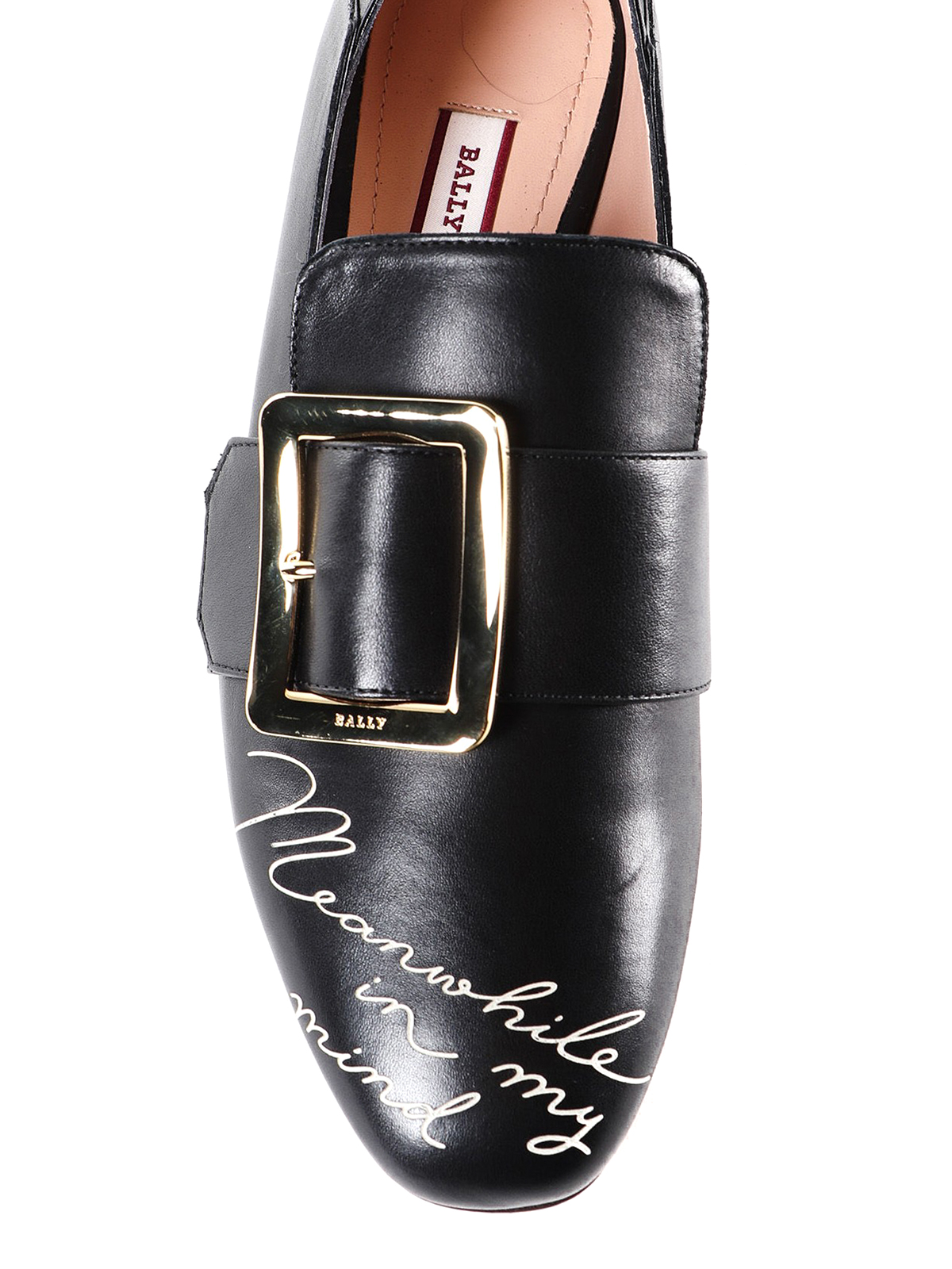 simpático Pies suaves Compra  Bally - Janelle black leather written shoes - Loafers & Slippers - 622589700