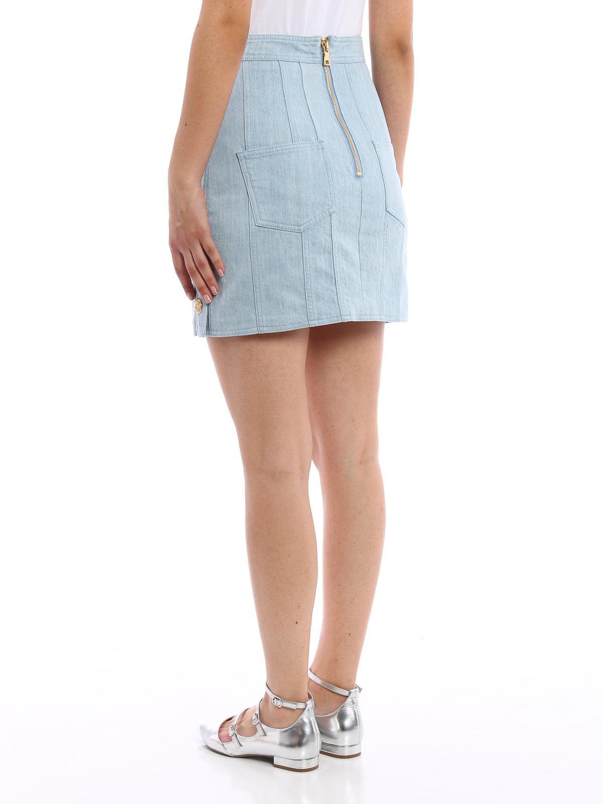 13be6458c7 Balmain - Button detailed denim mini skirt - mini skirts - 4334 343N ...