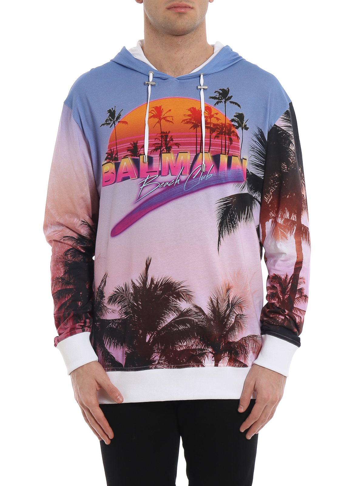 75beabf8 Men · Clothing · Bags · Shoes · Shop now. iKRIX Balmain: Sweatshirts &  Sweaters - Balmain Beach Club print cotton hoodie