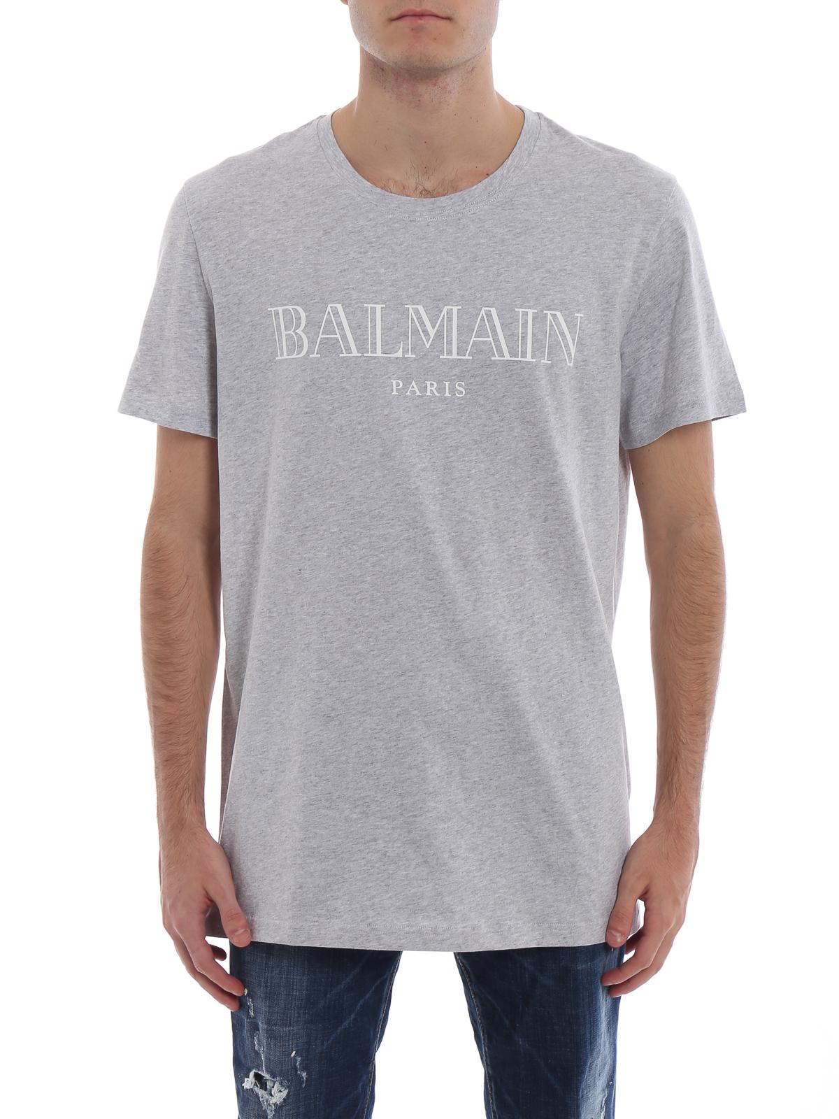 1504914c5 iKRIX Balmain: t-shirts - Balmain Paris logo grey cotton T-shirt