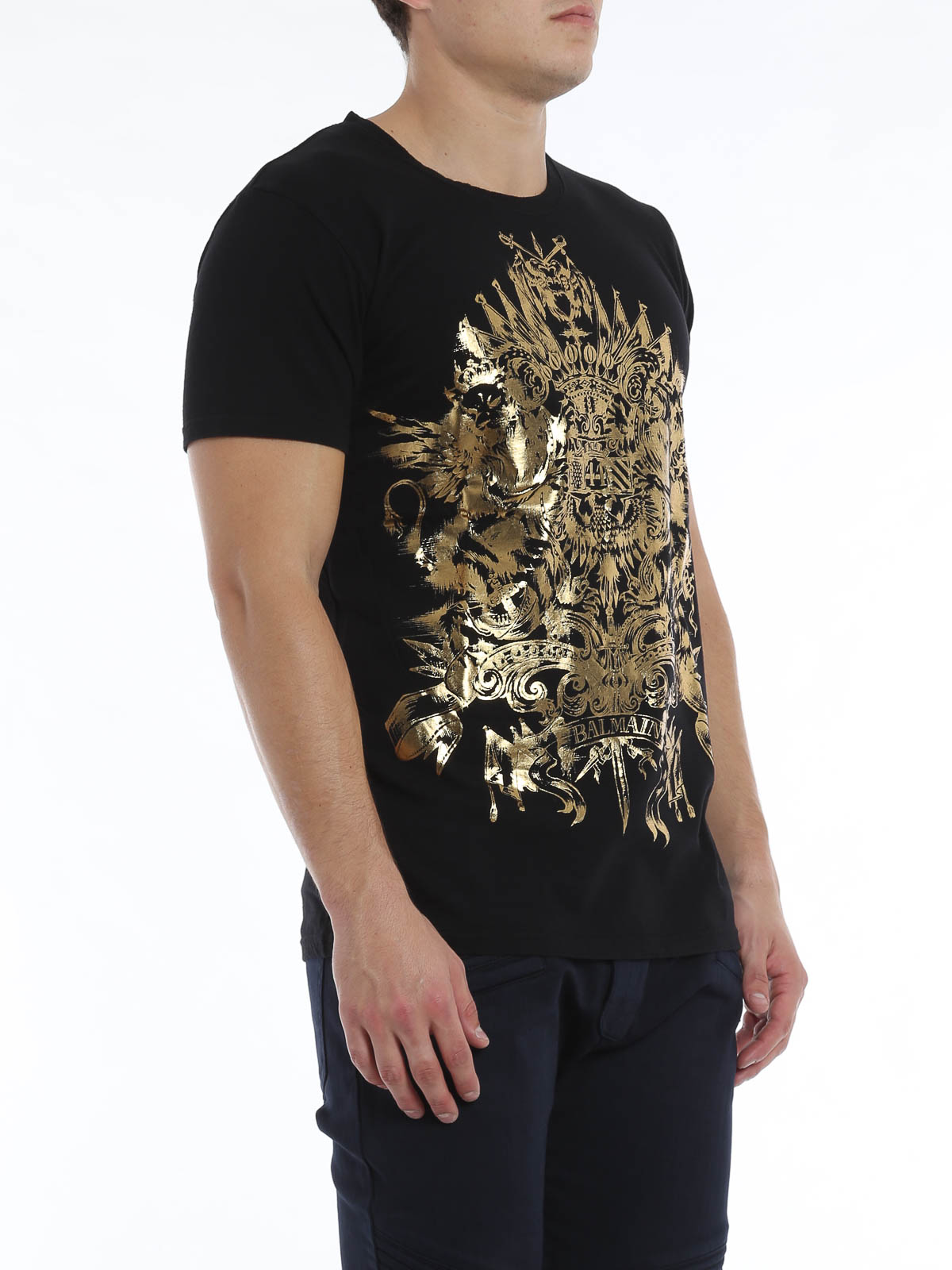 golden print t shirt by balmain t shirts ikrix. Black Bedroom Furniture Sets. Home Design Ideas
