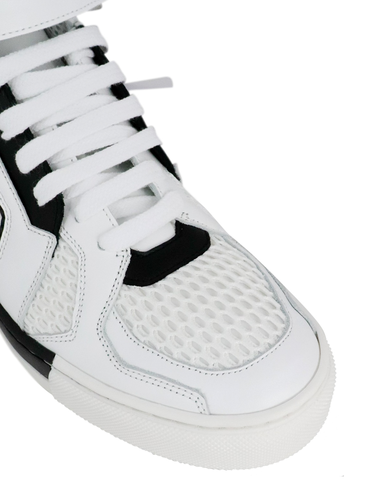 Fabric and leather high sneakers