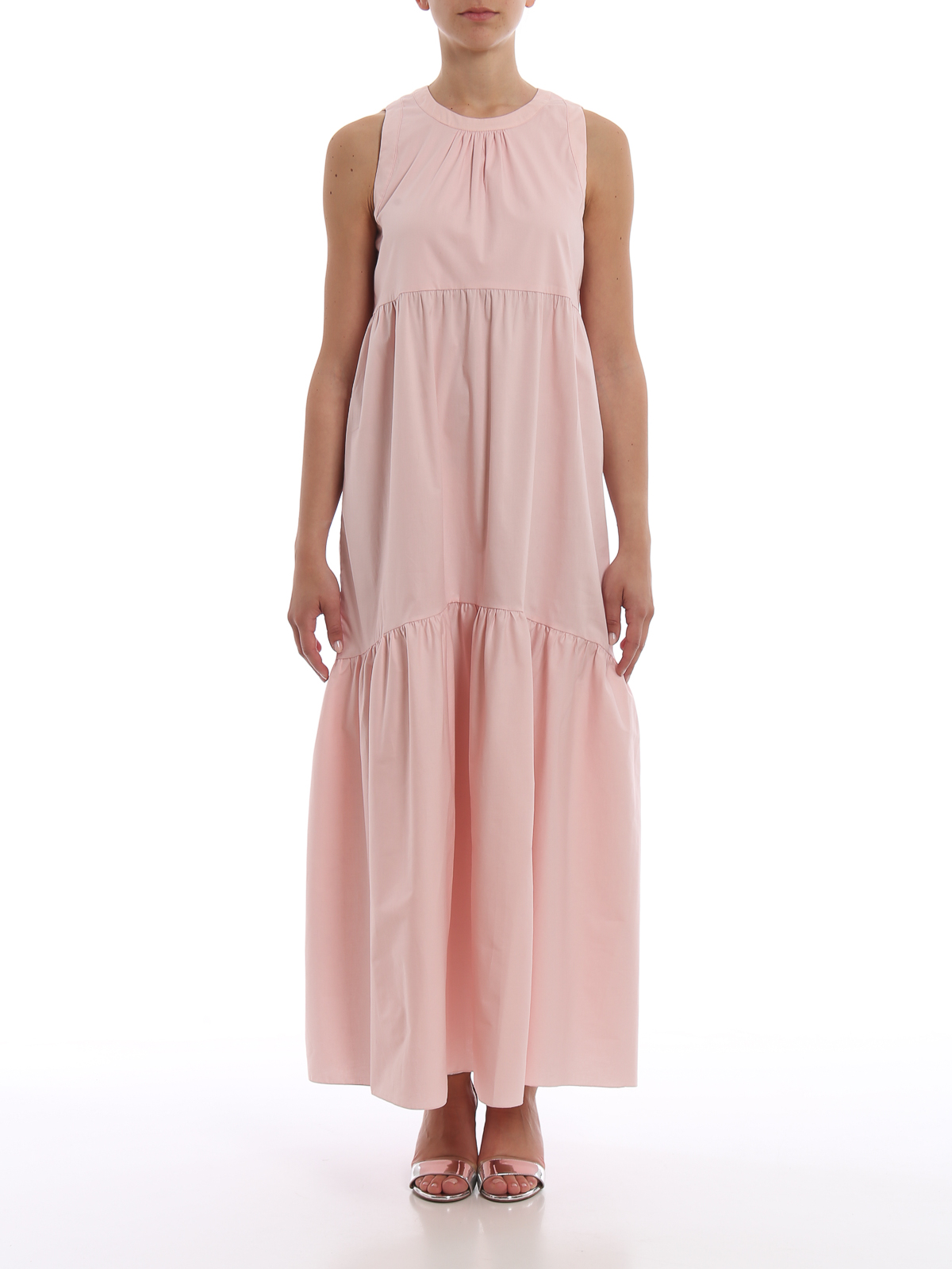 separation shoes 7bad9 c3839 Blugirl - Abito maxi in cotone stretch rosa con balze ...