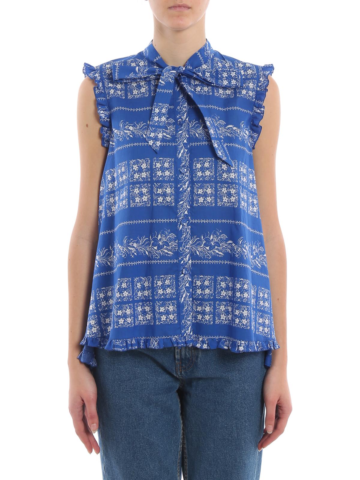 buy popular 24e67 ad754 Blumarine - Camicia smanicata asimmetrica floreale - camicie ...