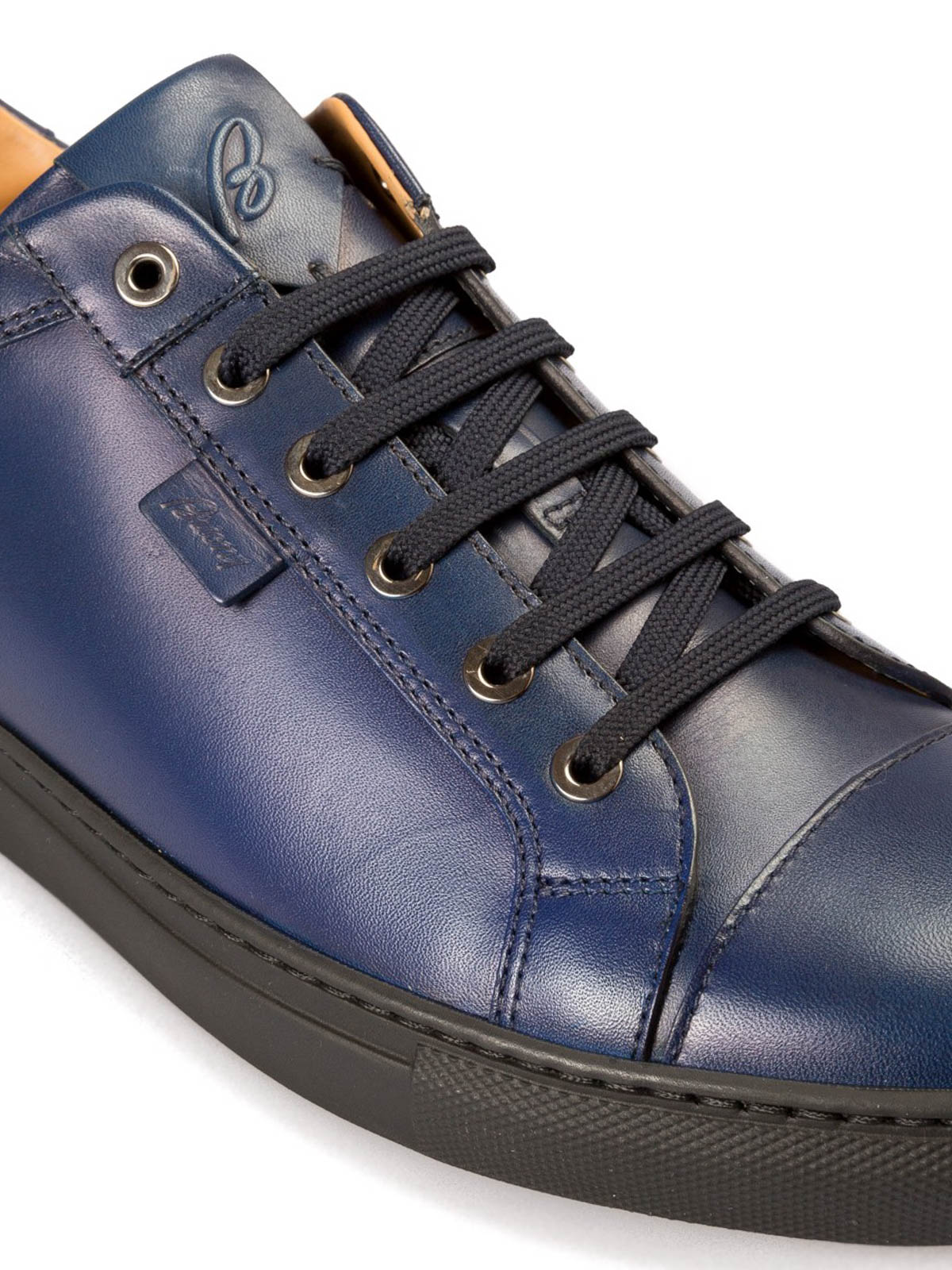 Brioni - Blue leather low top sneakers
