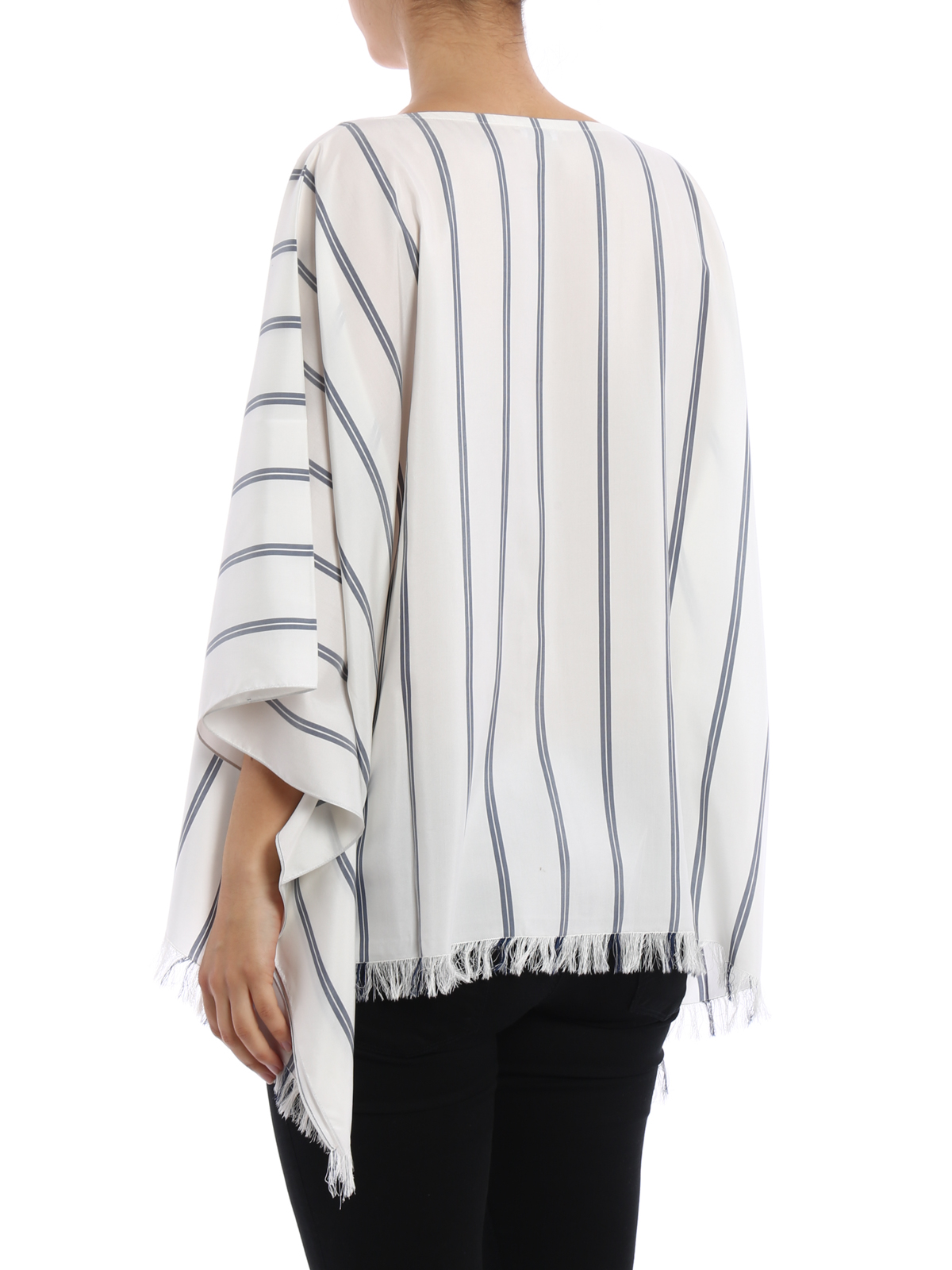 18107431b40268 iKRIX BRUNELLO CUCINELLI: blouses - Striped silk poncho style blouse