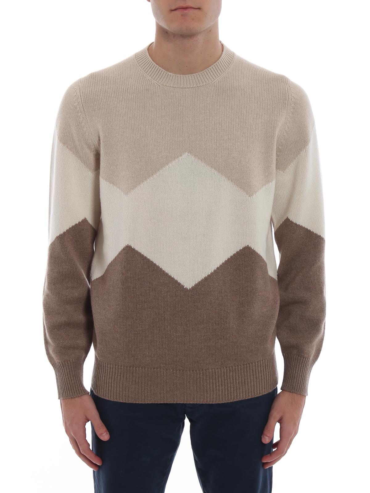 online store add0b 1de22 Brunello Cucinelli - Colour block cashmere sweater - crew ...