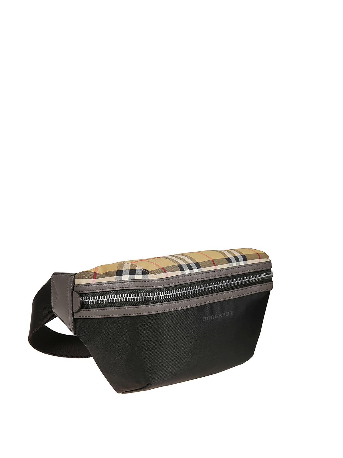 f6b4a51010f Burberry - Check detail black nylon belt bag - belt bags - 8005416