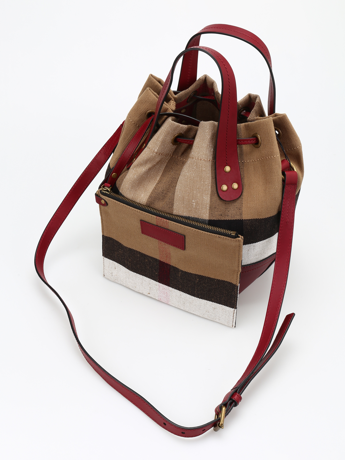 02fe275c1 Burberry - Small Heston canvas Check bag - Bucket bags - 4053322
