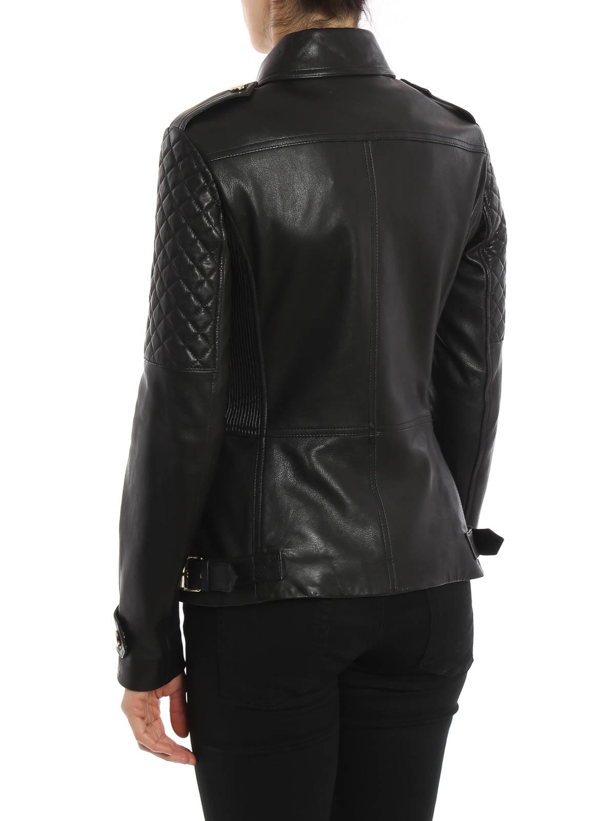 Burberry - Manteau En Cuir Noir Pour Femme