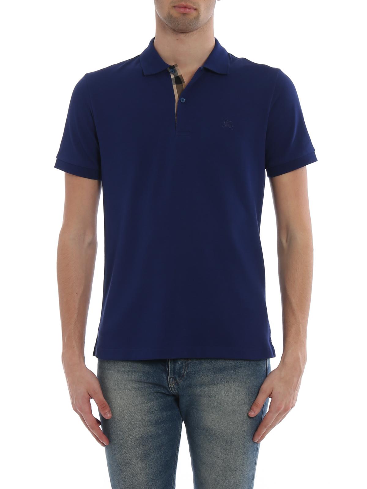 Burberry Oxford Blue Cotton Polo Shirt Polo Shirts 4068779