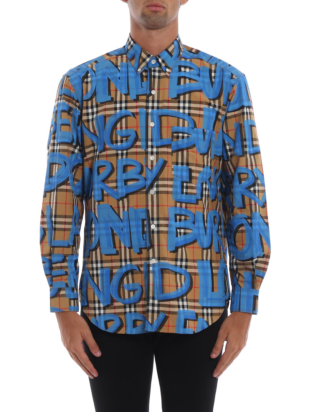 Burberry Shirts Jameson Graffiti Print Check Cotton Shirt