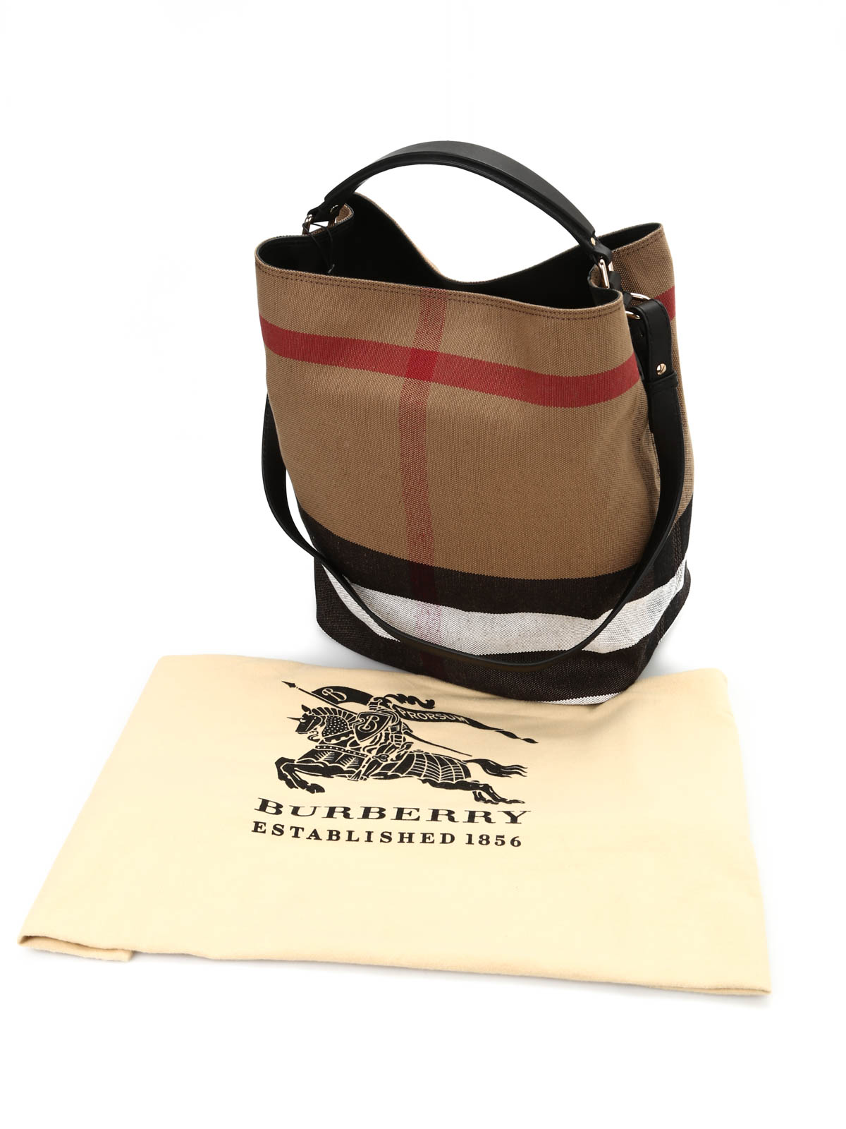 f59c844b0b13 Burberry Ashby Medium Colorblock Check Canvas Hobo Bag Black