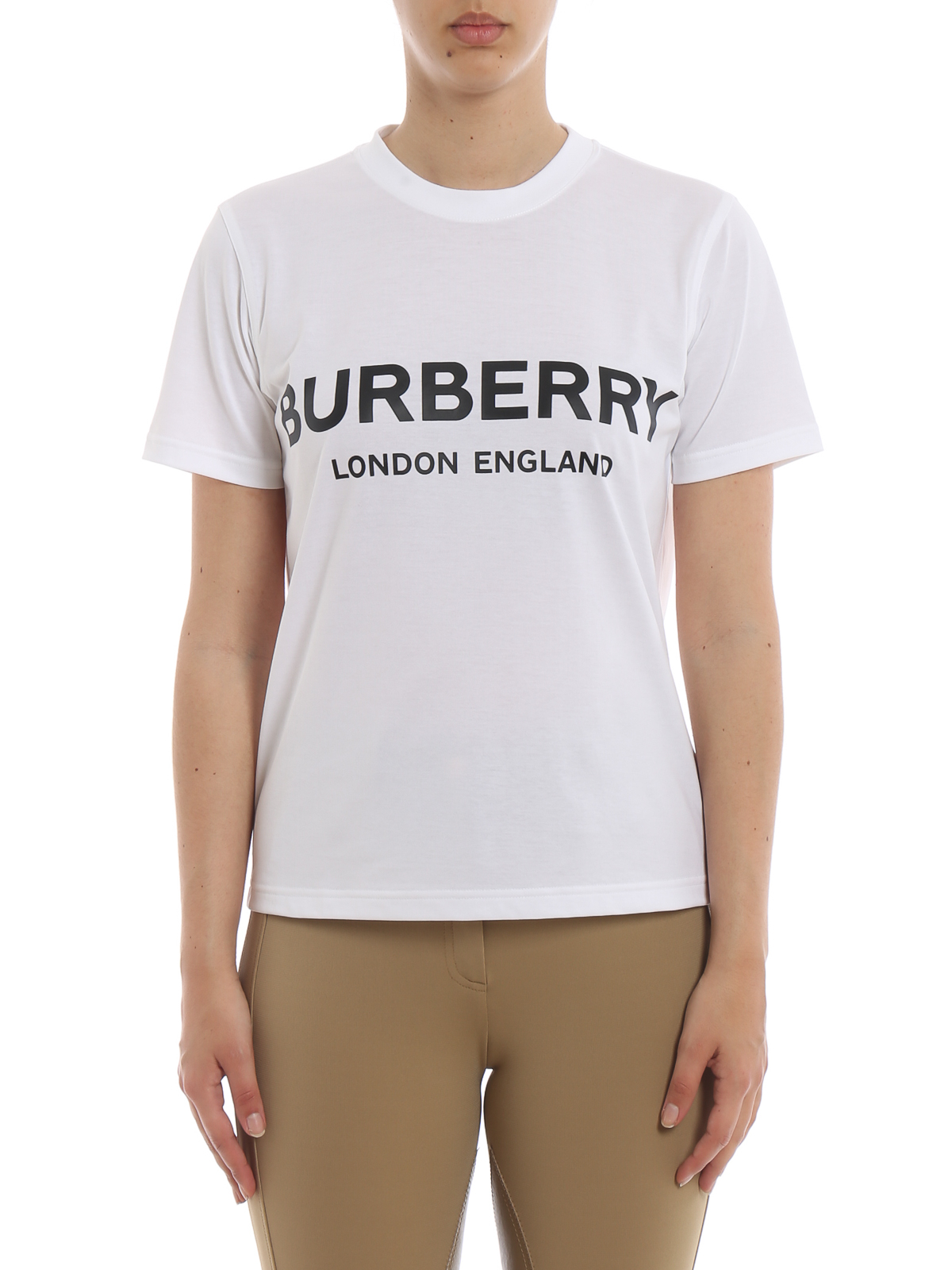 burberry - logo lettering white cotton t-shirt - t-shirts