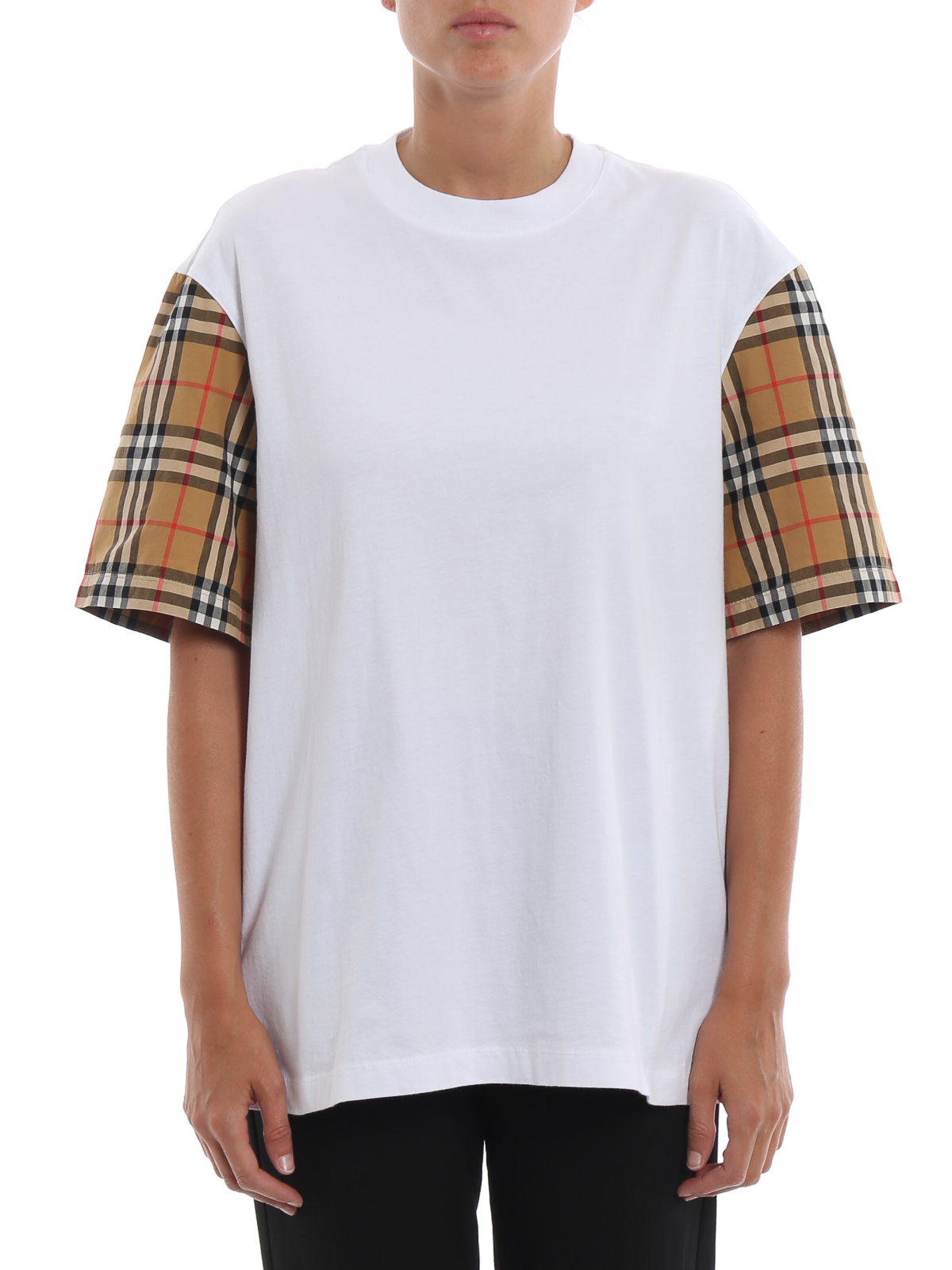Burberry T shirt bianca Serra con maniche a quadri t