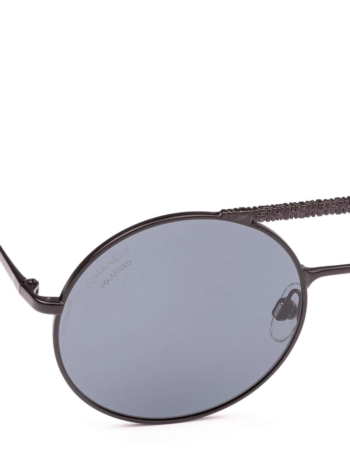 5a4e9e27e0bd7 Chanel - Black mat metal round sunglasses - sunglasses - 4232 C 101 T8