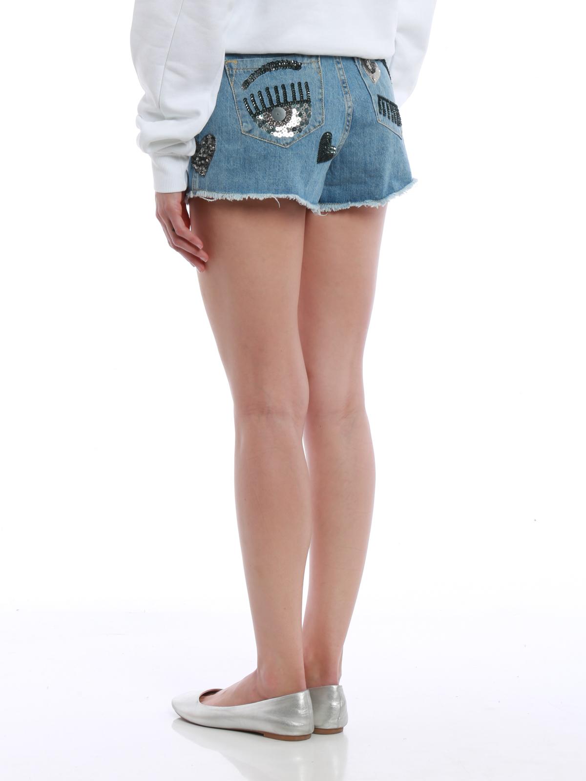 f94aa6ed88 iKRIX CHIARA FERRAGNI: Trousers Shorts - Flirting sequin heart denim shorts