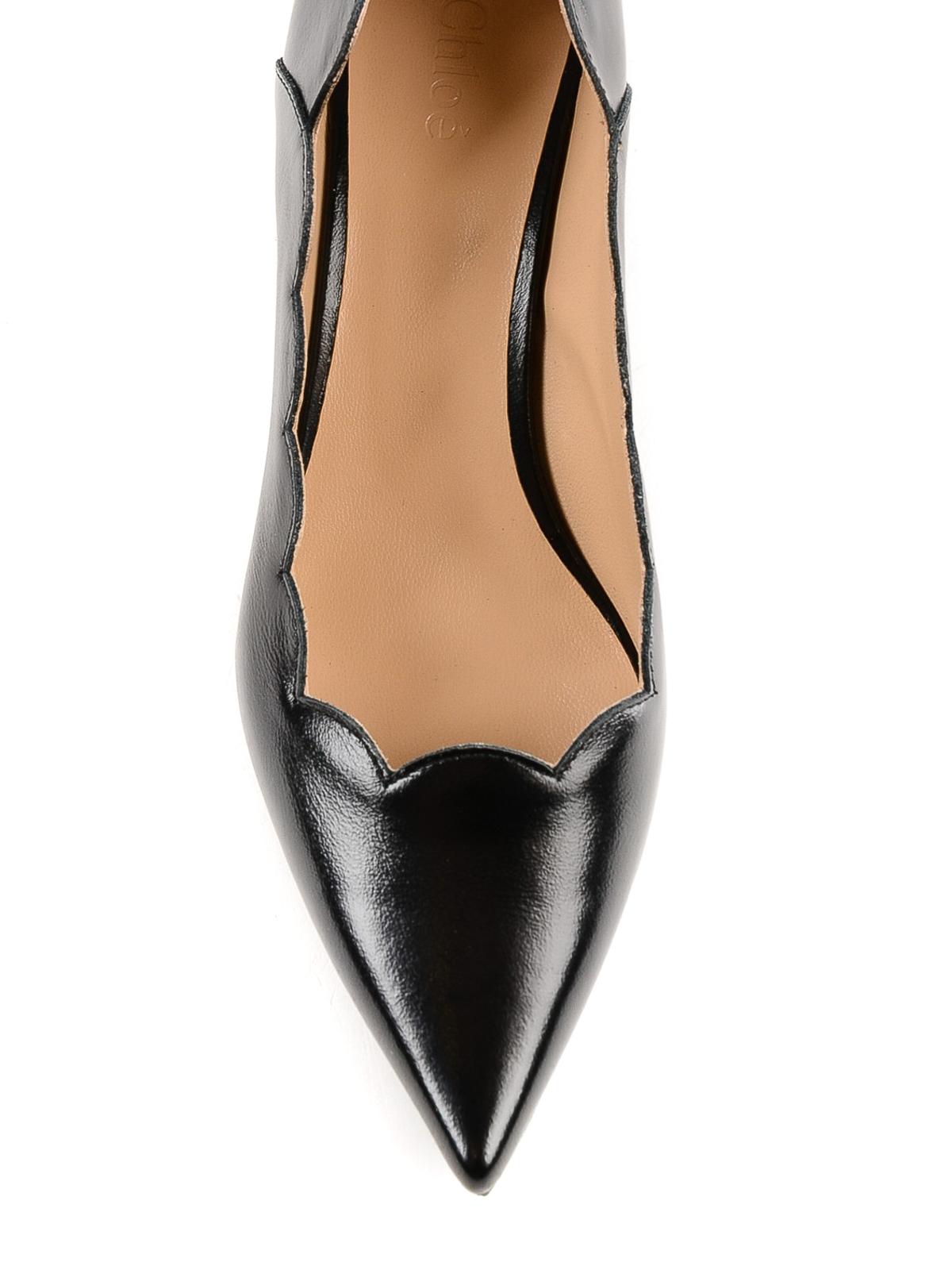 daff127ac11b Chloe  - Lauren polished leather scalloped pumps - court shoes ...