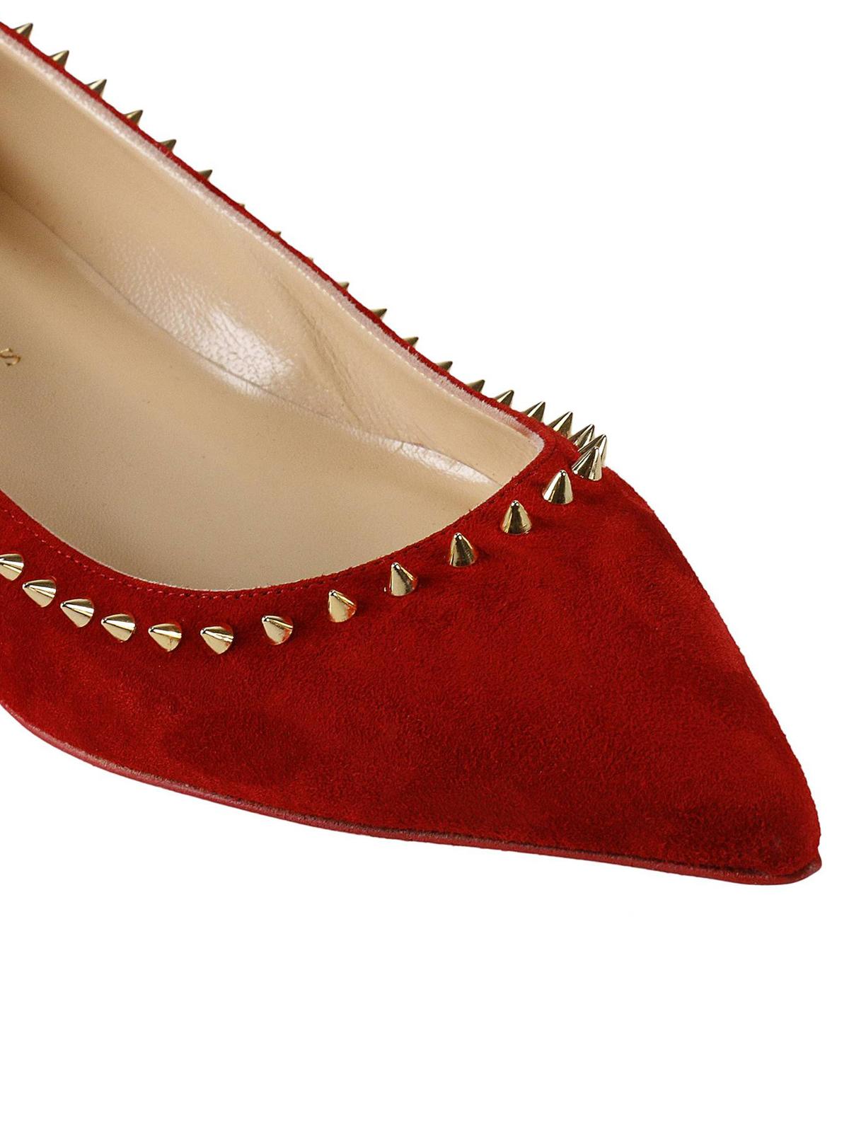 795b4cf1aab9 iKRIX CHRISTIAN LOUBOUTIN  flat shoes - Anjalina spike trim red suede flats