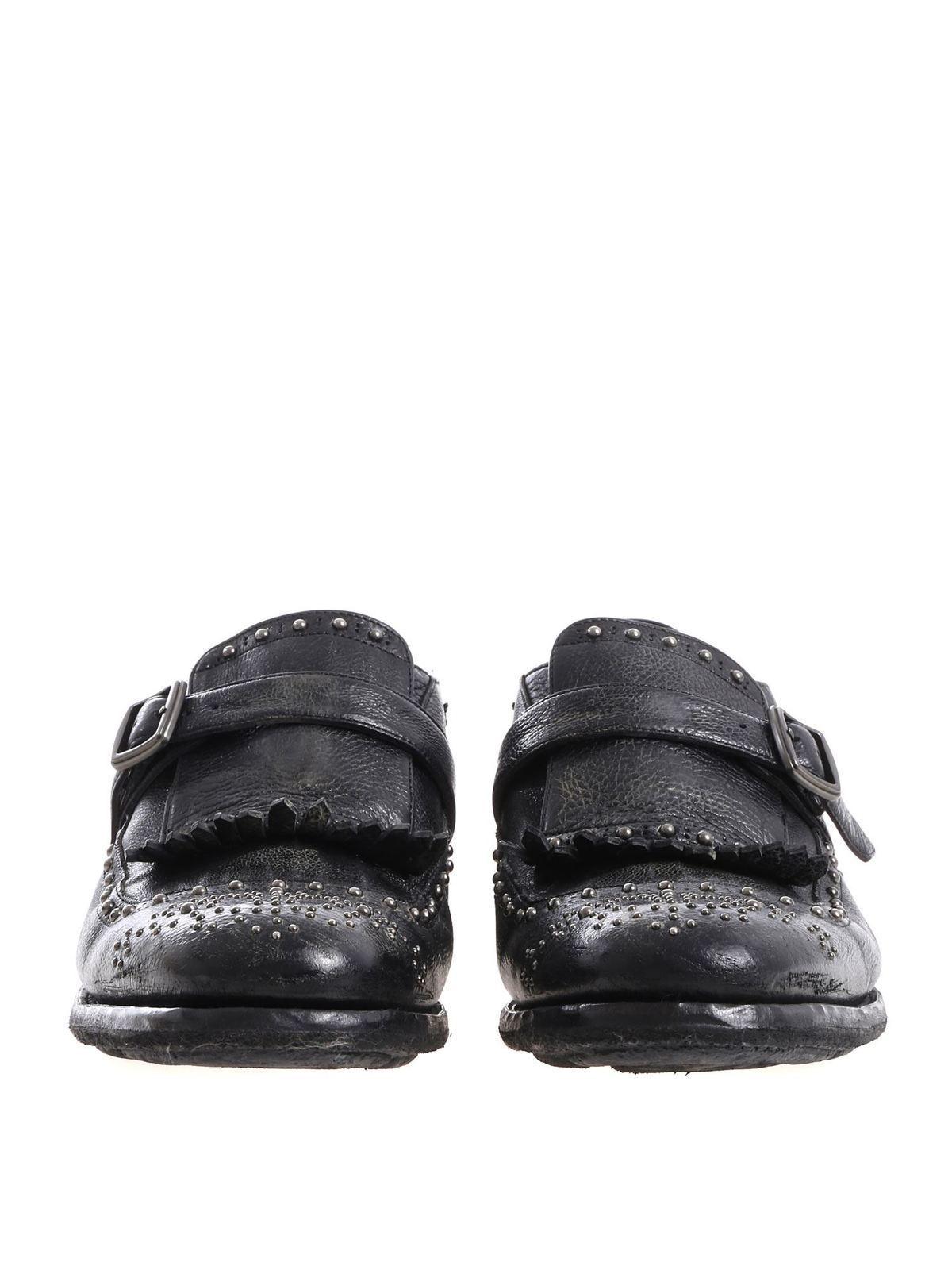 Church's Scarpa nera effetto vintage con borchie argen