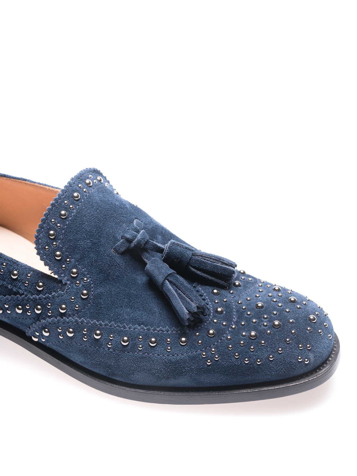 2b8455dd0e9 Church s - Stud detailed blue suede loafers - Loafers   Slippers ...