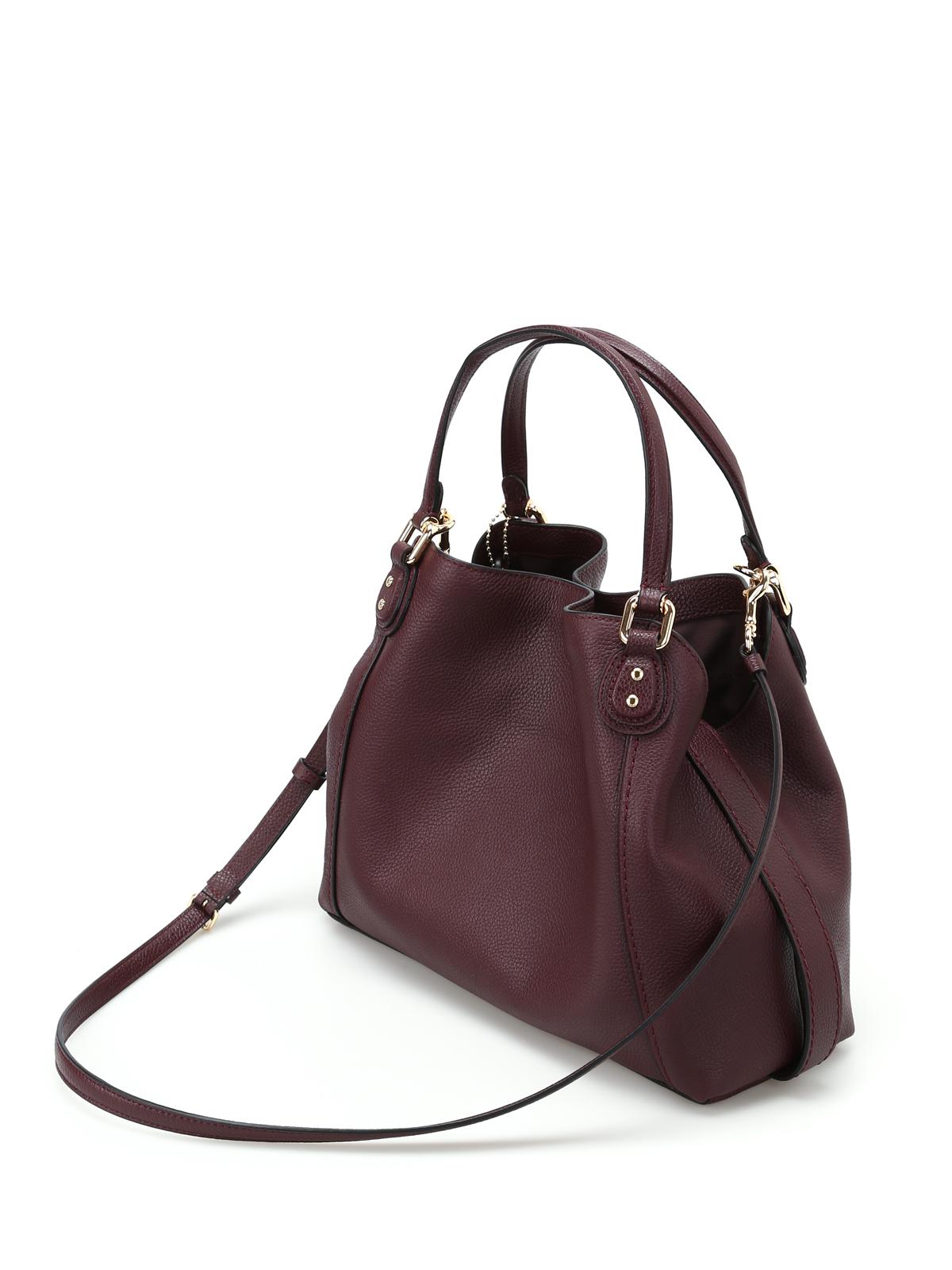 Coach - Edie 28 black purple leather tote - shoulder bags ...