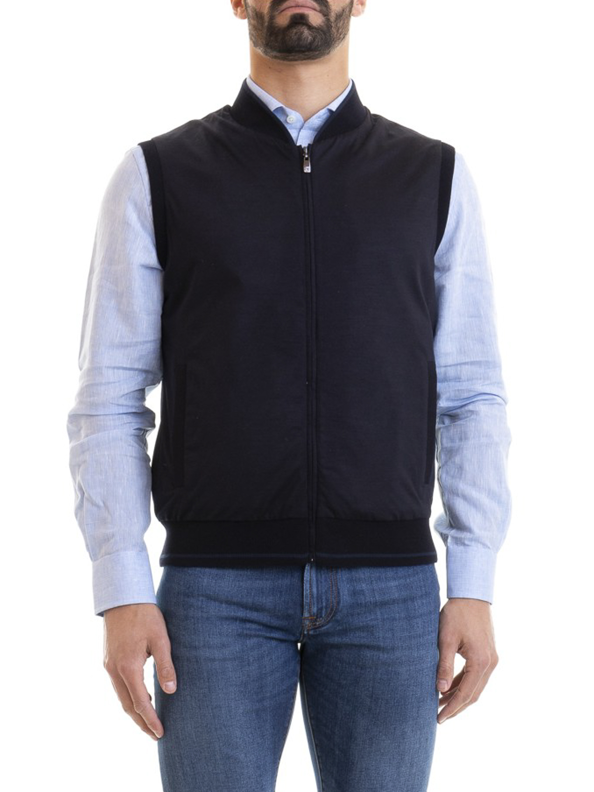 3597d4604e Corneliani - Wool jersey and nylon vest - waistcoats & gilets ...