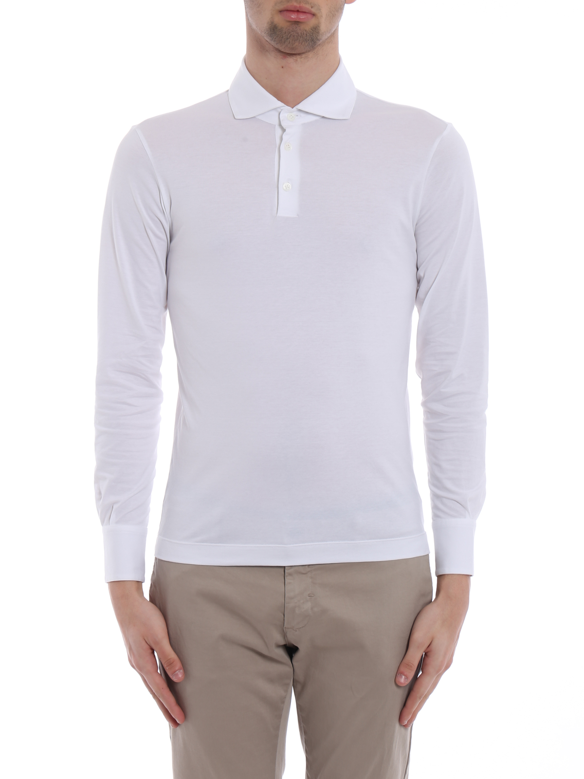 info for 13e61 b866e Cruciani - Long sleeve white polo shirt - polo shirts ...
