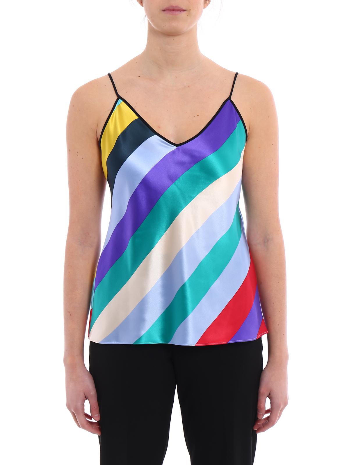 2f104f3ba4664a iKRIX Diane von Furstenberg  Tops   Tank tops - Multicolour striped silk satin  top