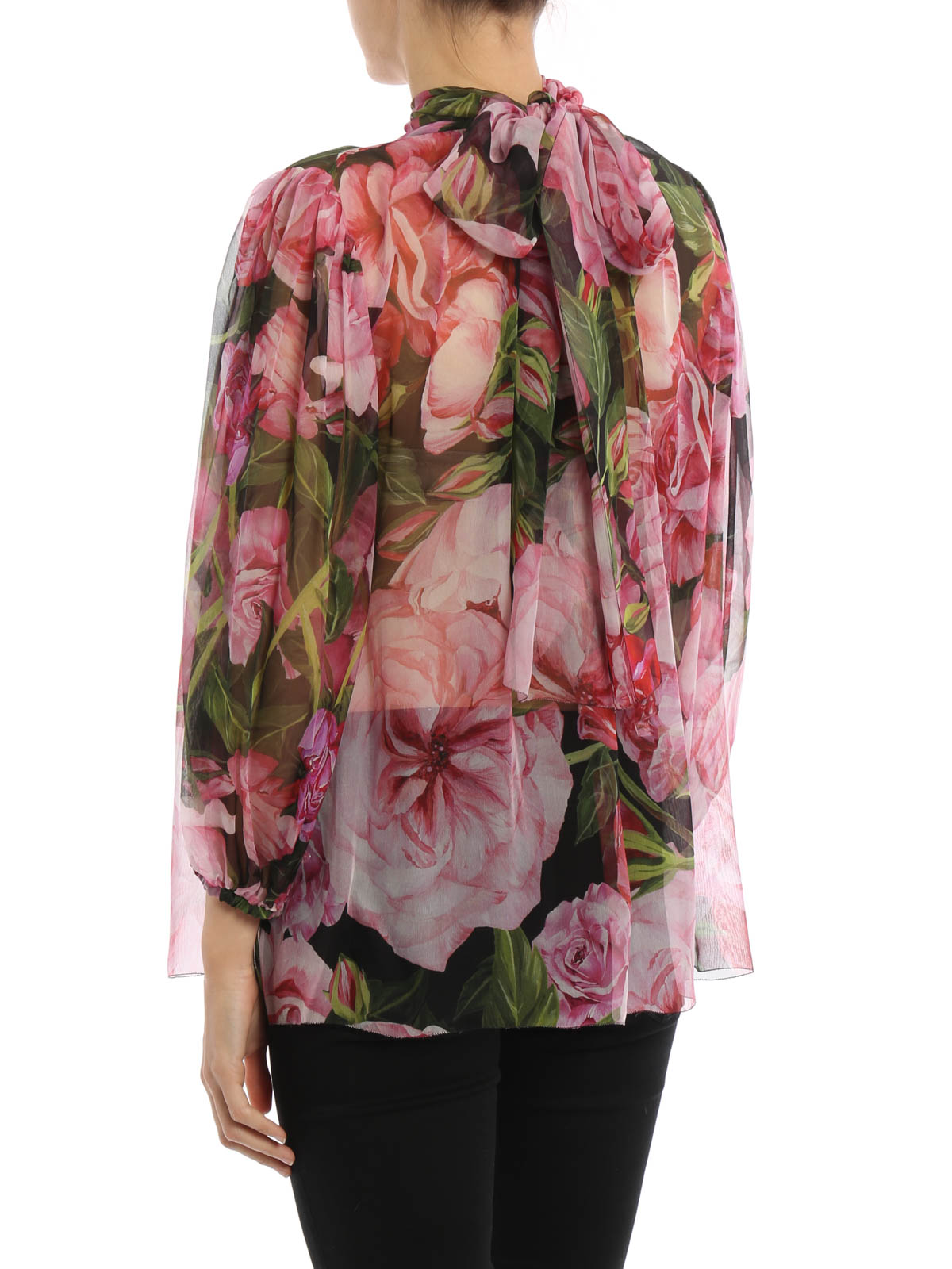 Dolce  Gabbana - Rose Print Silk Chiffon Blouse - Blouses -7421