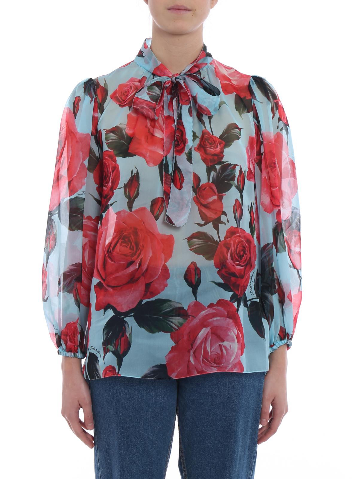 12af1aa56c182d iKRIX DOLCE   GABBANA  blouses - Rose print silk organdie blouse